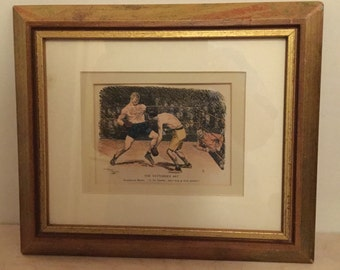 Fathers Day gift/ Boxing Memorabilia/Vintage Framed Print/Present for Boyfriend/Boxing Fans/Tattoo Lovers/Iconic Punch Magazine