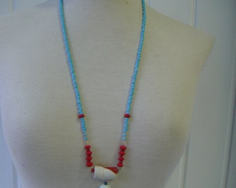 Necklace long with hanging blue KLEIN