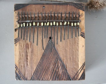 kalimba thumb piano vintage wood handmade collectible art africa decoration sound music box 19 keys