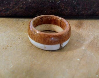 Wood and Antler Band/Ring; size 6.5