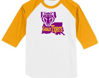 LSU Geaux Tigers Raglan Baseball T-shirt