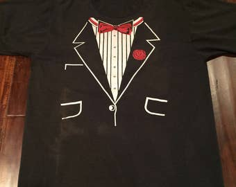 Vintage 1990's Tuxedo tshirt Large black Screen Stars Best