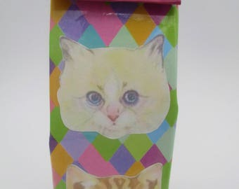 Pencil case, cat, hand made, Upcycled, milk carton,