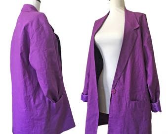 Vintage Linen-Cotton Oversized Blazer Jacket
