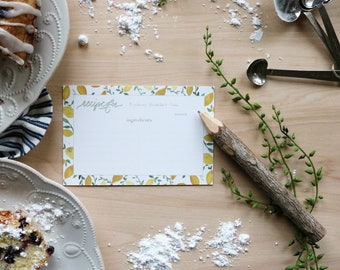 """Set of 10 - Recipe Cards - """"When life gives you lemons, get baking!"""""""