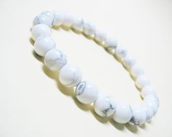 Howlite Bracelet Mens Bracelet White Howlite Bracelet Wrist Mala Bracelet Yoga Bracelet Spiritual Bracelet Unisex Bracelet Power Bracelet