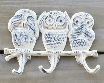 "Adorable Owl Hooks ""See No Evil, Hear No Evil, Speak No Evil"", Shabby Chic Cottage"