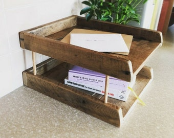 Paper Tray Tower | Reclaimed Wood Desk Organizer | Wooden Paper Tray | Magazine Holder | Repurposed Wood Office Organizer