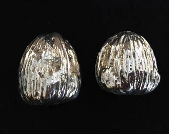 Silver plated walnut weights , table decor
