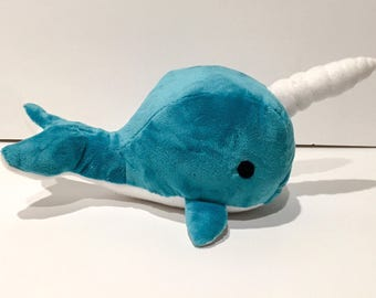 Narwhal Plush-Narwhal stuffed animal-Narwhal-Narwhal plushie-Turquoise Narwhal Plush-Stuffed Narwhal-Plush Narwhal-Stuffed animal-plushie