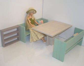 TO order - furniture dining wooden painted and varnished for Barbie doll