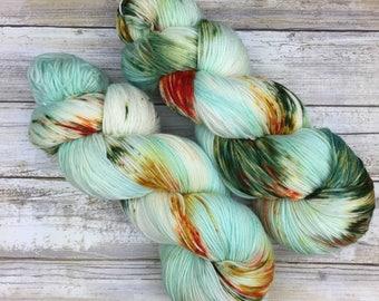 Hand Dyed Yarn | Superwash Merino Wool/Nylon Blend | Fluffy Sock/Fingering Weight | 100 g. | Ocean Mist | 4-ply