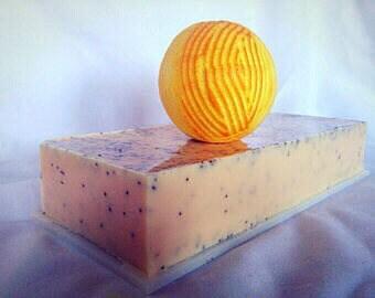 Poppyseed Bar Soap, Natural Orange Soap: Poppyseed Soaps, Poppyseed Soap Bar Poppyseed Hand Soap Goat Milk Soap Orange Scrub Soap Poppyseed