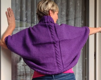 cocoon sweater, jacket, cape, cardigan, Shoulder Warmer, knitted shrug, knitted cape, purple cardigan