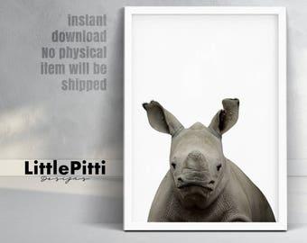Rhino print, safari nursery decor, modern minimalist nursery, african animals, kids room printable, baby african animal, little rhino print