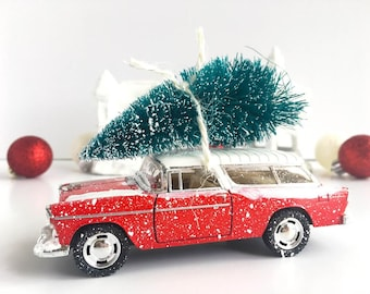 Retro Bright Red Vintage Christmas Car with Tree Decoration - Vintage Christmas Decoration - 1955 Chevy Nomad - Classic Car Christmas - Gift