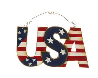 USA Sign, 4th of July Decor, fourth of july decor, wall decor, wall sign, door decor, Red white and blue ornaments, flags, USA sign