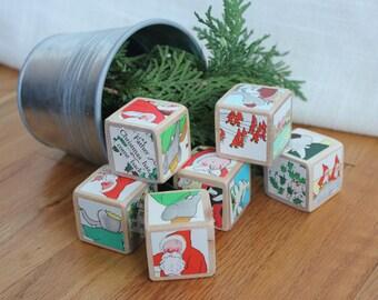 6 CHRISTMAS Babar Wooden Blocks