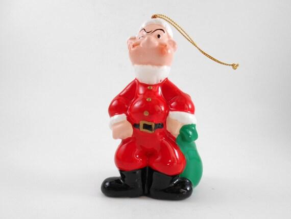 Vintage Popeye Christmas Ornament Collectible Ceramic Ornament Christmas Tree Decoration Home Decor Holiday Keepsake Comic Strip Ornament