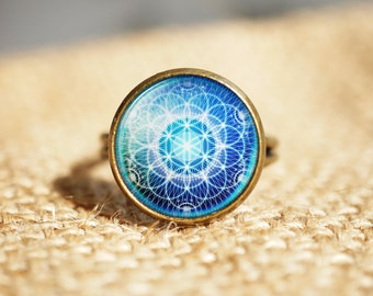 Flower of Life Sacred Geometry rings, Seed Of Life rings,Spiritual rings, Mandala rings, Round rings