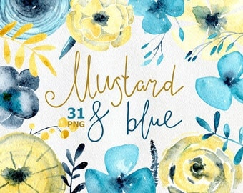 Watercolor flower clipart: turquoise blue & mustard yellow flowers, Aquarelle Digital Clip Art,  aquamarine watercolour boho floral clipart