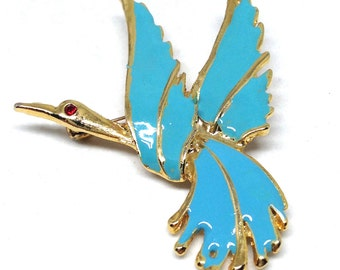 Stunning Estate Teal Enamel Bird Flying Gold Tone Brooch