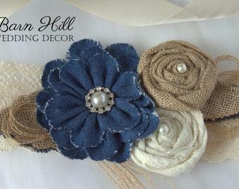 Wedding Dress Sash, Bridal Sash, Wedding Belt, Satin Sash, Denim, Ivory, Rustic Wedding