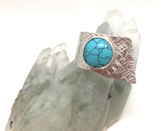 Sterling Silver & Turquoise Wrap Ring | Jewellery | Jewelery | Gift | Turquoise | Silver | Adjustable | Wrap | Statement