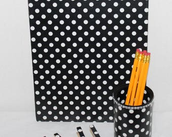 Black polka dot print stationary set;Tin can pencil holder;Office supplies;School supplies;Teacher gift;Desk set;Clipboard;Stationary set