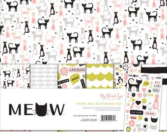 "My Mind's Eye MEOW Collection 12"" x 12"" Scrapbook Paper and Accessories Kit"