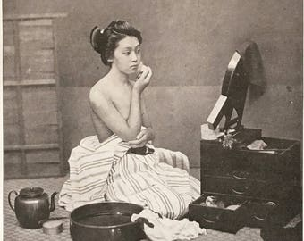 JAPAN. Young girl in her bath. 1915's. Old print.Black and white. 11,81 ins x 9,45 ins