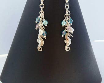 Seahorse charm sterling silver drop earrings
