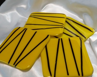 Coasters. Hand made. Fused glass coasters. Decorative tiles. Bright yellow and  black coasters. Set of 4. Home decor.