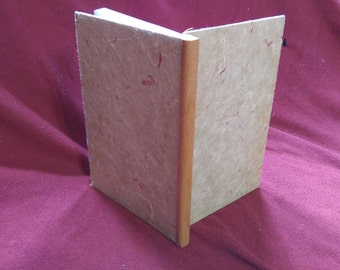 Blank Journal, ruled pages, natural paper cover, wood binding