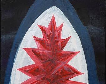 "Shark // 8"" x 10"" canvas original painting."