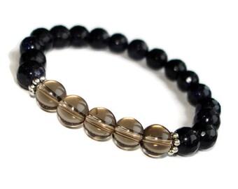 smoky quartz bracelet jewelry for him and her morion quartz bracelet boyfriend birthday gift inspirational bracelet meditation bracelet set