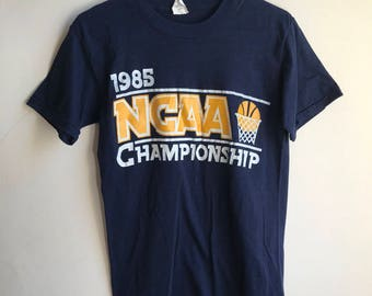 March Madness NCAA Basketball 85 Championshipt T Shirt | Retro 80s Basketball Tee | Navy Blue Vintage T Shirt | Throwback Basketball Tee