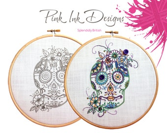 Sugar skull embroidery. Day of the Dead. Candy skull.