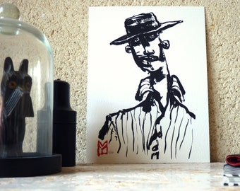 Drawing ink - man in the hat - limited Digital Edition / signed / numbered