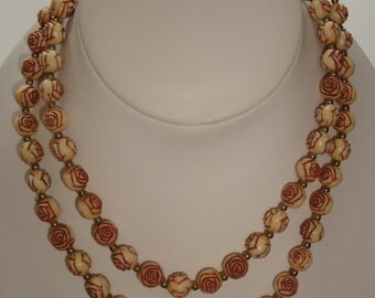 Floral (Rose) Carved Celluloid Necklace