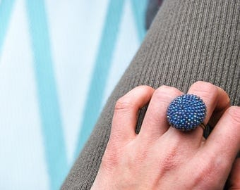 Crocheted ring from beads, chrochet beads, soft blue, Pearl work