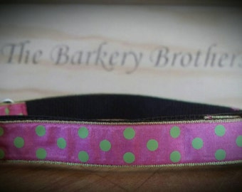 Handcrafted Dog Collar / Hot Pink Lime Green Polka Dot / Longer Length