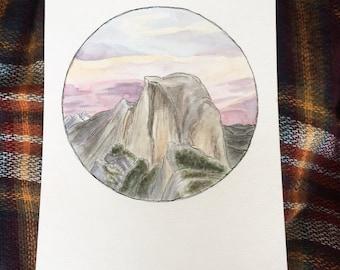 Yosemite Half Dome Original Watercolor Painting, National Park Art, Sunset Painting, Mountain Watercolor