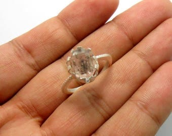 Natural Diamonds Quartz Ring Set in Sterling Silver - Gift idea Double Terminated