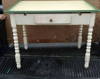 Eclectic vintage hand Crafted kitchen desk table