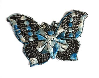 Antique applique Butterfly 1930s vintage embroidered applique. Vintage patch, sewing supply. Applique, Crazy quilt. #6A7GB8KF