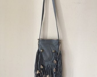 Real handmade crossbody bag, from soft leather with elements of fashionable leather fringe with decoration new women's blue bag size-small.