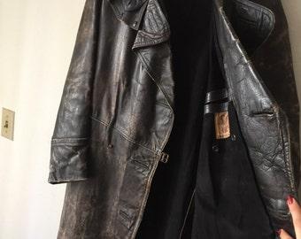 Military Long Vintage Black Genuine Leather Coat Men's Size Medium .