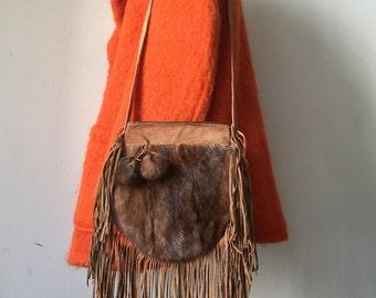 Suede & mink fur shoulder fringe hand made bag .