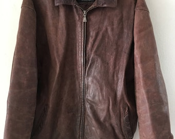 Neat Short Vintage Brown Genuine Heavy Leather Jacket Men's Size Large.